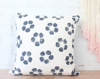 dusky lavender purple floral block printed hemp pillow cover - SAMPLE SALE