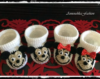 Crochet Baby booties, Mickey & Minnie shoes -baby  gift-handmade knitting