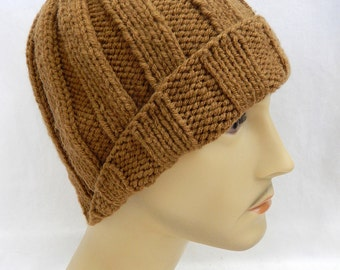 Rib Knit Hat Rib Knit Beanie Skull Cap Handmade..Caramel Brown... (Ready to Ship)
