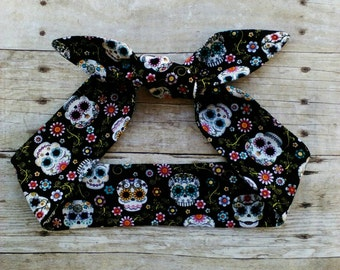 Sugar skull tie headband bandana knot hair tie rockabilly style made by FlyBowZ