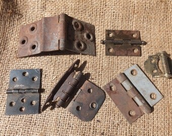 Rusty Hinges - for crafts, altered art, assemblage, rusty supplies
