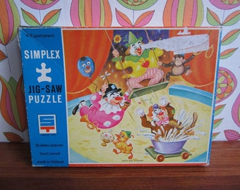 Vintage Simplex Wooden Jigsaw Puzzle Circus Clowns Trapeze Moneky Duck Tent Girl Boy Children Child's Toy 4-5 Years Plywood No. 613/E/35 60s