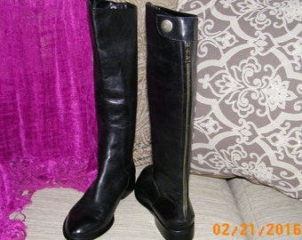 Womens Designer Boots: Franco Sarto Boots, Tall Leather Boots, Back Zippered Boots, New Riding Boots, 6M