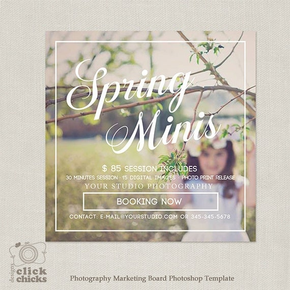 free photography marketing templates - spring easter mini session template marketing board for
