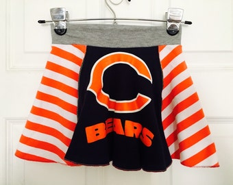 Upcycled Chicago Bears Football TWIRL SKIRT size 2T 3T