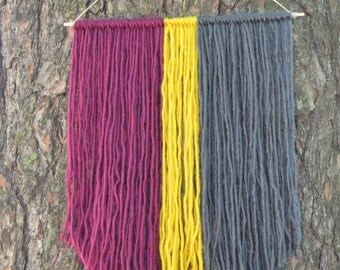 Yarn Wall Hanging | Modern Colorful Small Wall Tapestry | Maroon, Yellow and Gray | Modern Fiber Art | Gifts Under 20