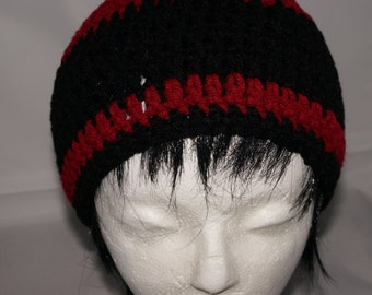 Crochet hat, Crocheted hat for adults/teens, red and black Winter hat, crocheted skullcap for men, winter trend beanie hat for mens