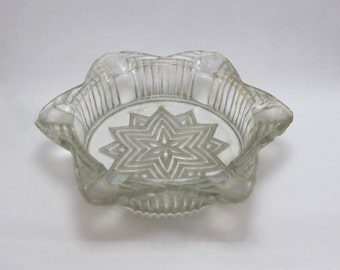 Vintage 1960s Cut Glass Star Pattern Smokey Glass Cigarette Ashtray or Use as Keyholder or Trinket Dish