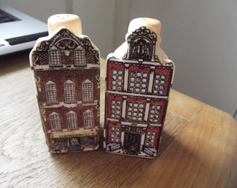 Quirky cruet set of a pair of old fashioned town houses