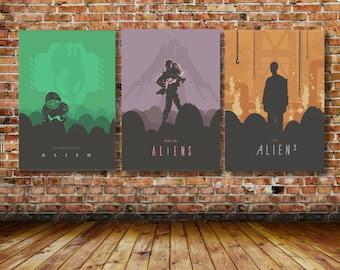Trilogy of Ridley Scott's Alien Movie Posters Sigourney Weaver as Ripley