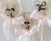 3 French Violet Champagne Hand Painted Masquerade Ball Marzipan Lollipops