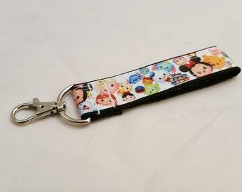Disney Tsum Tsum Pattern Keychain Key Fob Lanyard
