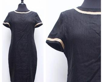90s minimalist black linen wiggle dress w braid detail // 60s style sheath dress sz. M / 8