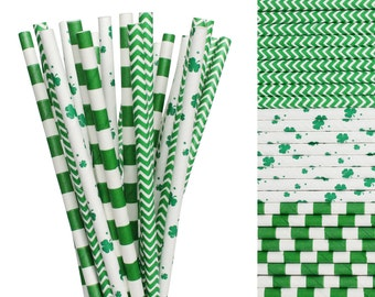 Saint Patrick's Day Paper Straw Mix-Green Striped Straws-Shamrock Paper Straws-Irish Paper Drinking Straws-Four Leaf Clover Straws