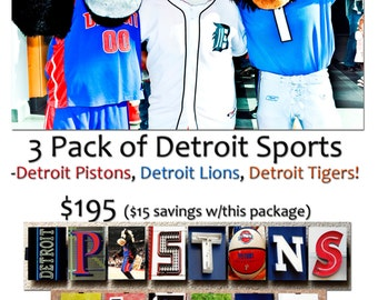 3 Pack Detroit Sports Frames, Michigan Sports, FootBall, Basketball, Baseball, Alphabet Photography, Perfects For Gifts!