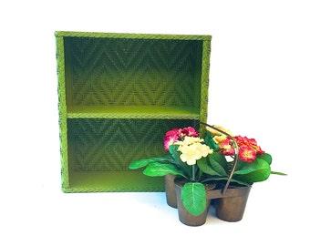 Vintage Retro Green Two Tiered Shelf.  Two Tiered Green Rattan Shelf