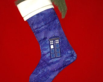 EMBROIDERED TARDIS sparkling stocking - sale