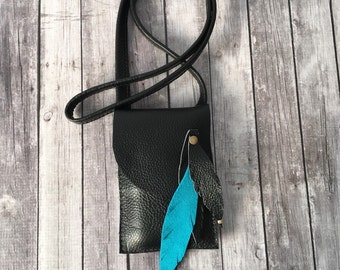 Leather Cell Phone Crossbody Case / Black Leather Case / Leather Cell Phone Case / IPhone Sleeve / Leather IPhone Case