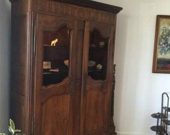 Antique French Armoire Hutch-DR