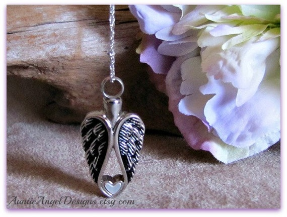 Angel Wings Heart Cremation Urn Necklace, Angel Wings Cremation Jewelry, Angel Heart Cremation Urn, Loss of Family Member Memorial Jewelry