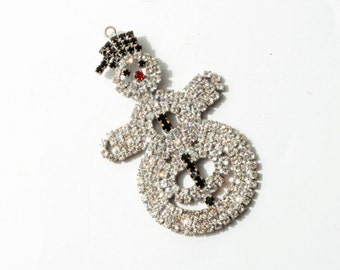 Collectible Vintage Czech handmade metal crystal glass rhinestone snowman Christmas tree hanging ornament decoration 151-62