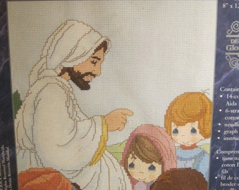 """On Sale Janlynn Precious Moments Counted Cross Stitch Kit, """"Tell Me the Story of Jesus"""", #131-85, Finished Size 8"""" x 12"""", NEW Kit, 2000"""