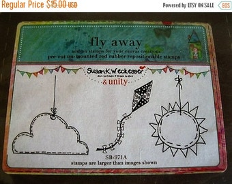 """On Sale New Sealed Package, Unity Stamp Company, """"Fly Away"""", Set of 3 """"Outdoor"""" Themed Red Rubber Stamps, Sun/Cloud/Kite  SB-971A, Unmounted"""