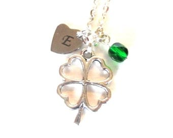 Personalised lucky clover necklace - Initial necklace - Four leaf clover gift - Lucky gift - Clover birthstone necklace - Clover gift - UK