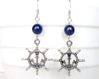 Helm and anchor earrings with navy blue pearls - Navy gift - Nautical gift - Helm charm earrings - Sailing gift - Nautical jewellery - UK