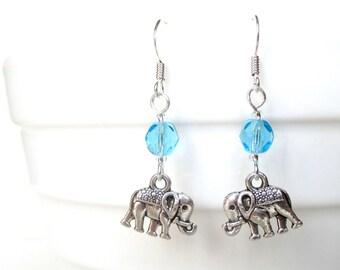 Elephant earrings - Custom birthstone earrings - Lucky elephant gift - Birthday gift idea - Elephant jewelry - March birthstone - Etsy UK