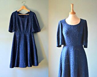 Vintage 70s evening blue crotchet dress. M