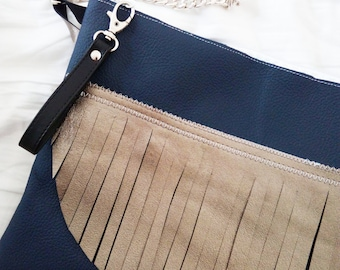 "Crossbody bag / Clutch ""Silver threads"""