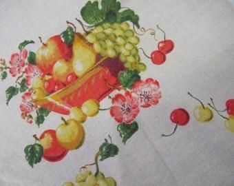 Mid Century Linen Tablecloth Farmhouse Tablecloth  Farmhouse Fruit Tablecloth Floral Tablecloth