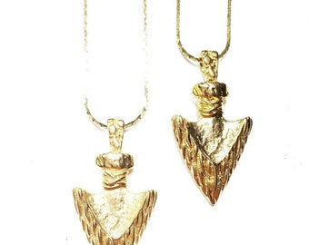 SALE-Gold Native Arrowhead Necklace on Vintage Brass Chain