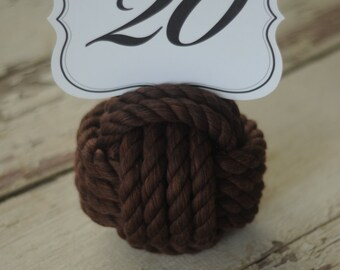 Nautical Wedding -  Nautical Decor - Reception Table Knots - Special Event Table Knots -  Brown Cotton Rope (this is per knot)