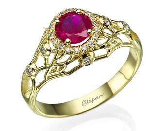 Ruby Engagement Ring, Ruby ring,  filigree ring, Wedding Ring, Gem Ring, Gemstone ring, Natural Ruby, Antique Ring, 14k Yellow Gold Ring