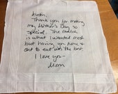 Wedding Handkerchief - Custom printed with signature or writing - Parent, Grandparent, Sibling