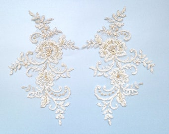 Lace and Crystal applique , crystal embellishment - Chicago - sold and priced  in symmetrical pairs