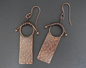 Acid etched copper earrings