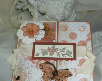 Cottage Chic Style Handmade Greeting Card - Blank Inside