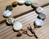 Ocean Jasper Bracelet and Gold Bronze, Gold Bronze Seashell Charm Bracelet, Artisan Style, Beachy, Gifts for Her