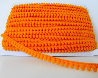 2 metre/5 metre 9mm Wide Mini Pom Pom Trim - Orange