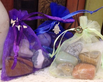 Tumbled Stone Grab Bag Mystery Mix! 5 pc bags. (crystal, semi-precious stones wire wrapping altar)