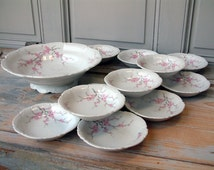 Vintage porcelain dessert service. Dessert set. Fruit salad set. Pink and white. Plum blossoms. Apple blossoms. French shabby cottage chic