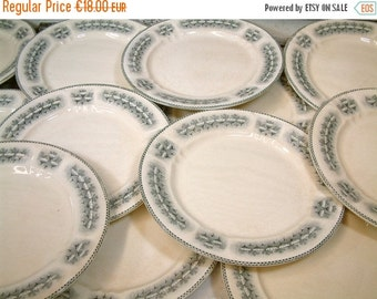 SALE Antique french ironstone grey transferware dinner plates from H.B.& Cie. / Choisy-le-Roi. Art Nouveau / Art Deco.French transferware