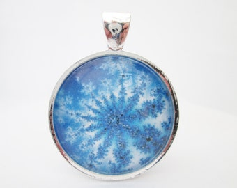 Blue frosted snowflake mandala round glass cabochon pendant with necklace or choker 1 inch 25 mm
