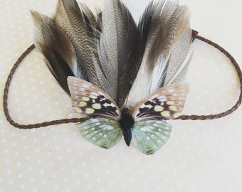 Butterfly feather headband