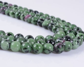 """8MM95 8mm Green ruby zoisite round ball loose gemstone beads 16"""""""