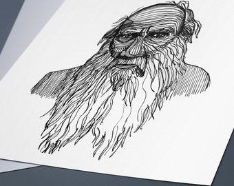 Leo Tolstoy Line Drawing Portrait Print