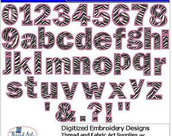 Embroidery Design CD - Zebra Alphabet(1) - 42 Designs - 9 Formats - Threadart